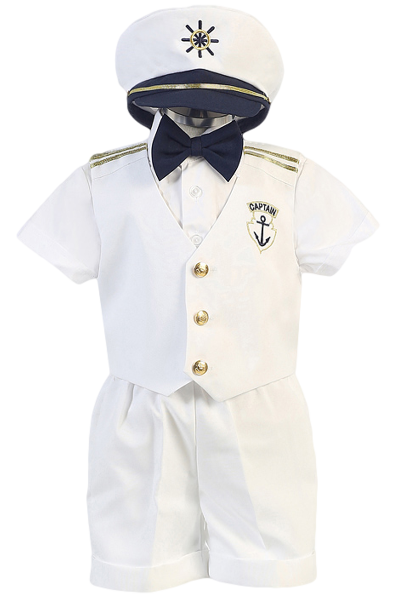 White Nautical Sailor Vest   Shorts 5 Piece Outfit with Captain Hat (Baby  or Toddler Boys) 6d632babccc