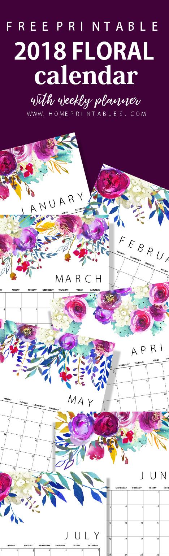 Free Printable Calendar 2018 in Beautiful Florals