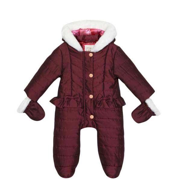 fcadd4af0 Ted Baker Baby Girls Snowsuit Mittens Plum Wadded Designer Gift Newborn 0-3  M