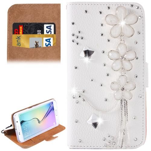 [USD3.58] [EUR3.24] [GBP2.58] For Samsung Galaxy S6 / G920 Flowers Diamond Encrusted Pattern Horizontal Flip Leather Case with Holder & Card Slots