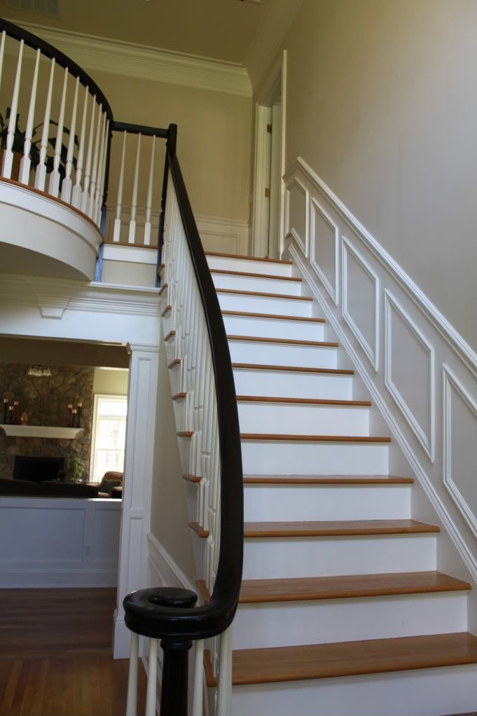Option 2 White Painted Balusters Black Painted Newel Post And