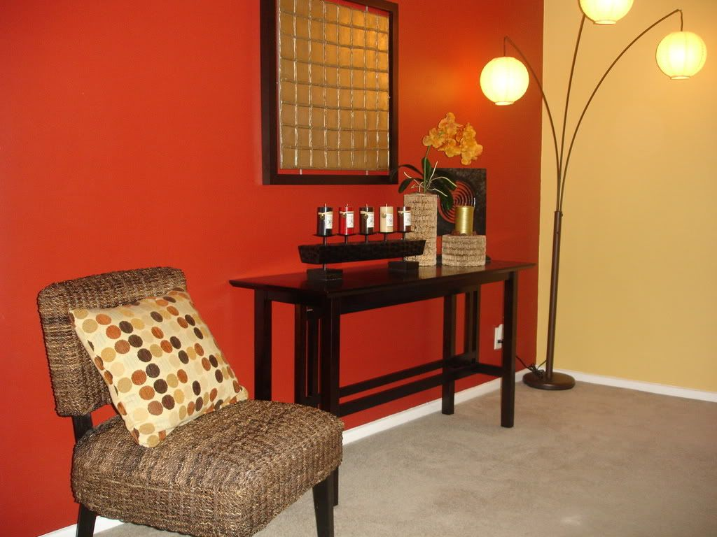 Red And Beige Living Room Focal Point Accent Wall Red Wall Warm Tones Basement Painting