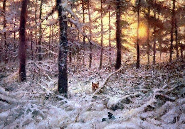Foxes by Rien Poortvliet (Dutch, 1932-1995).