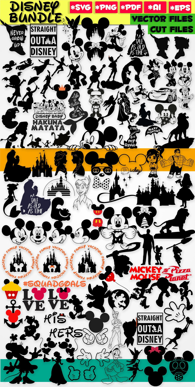 Disney svg bundle disney clipart disney silhouette stencil