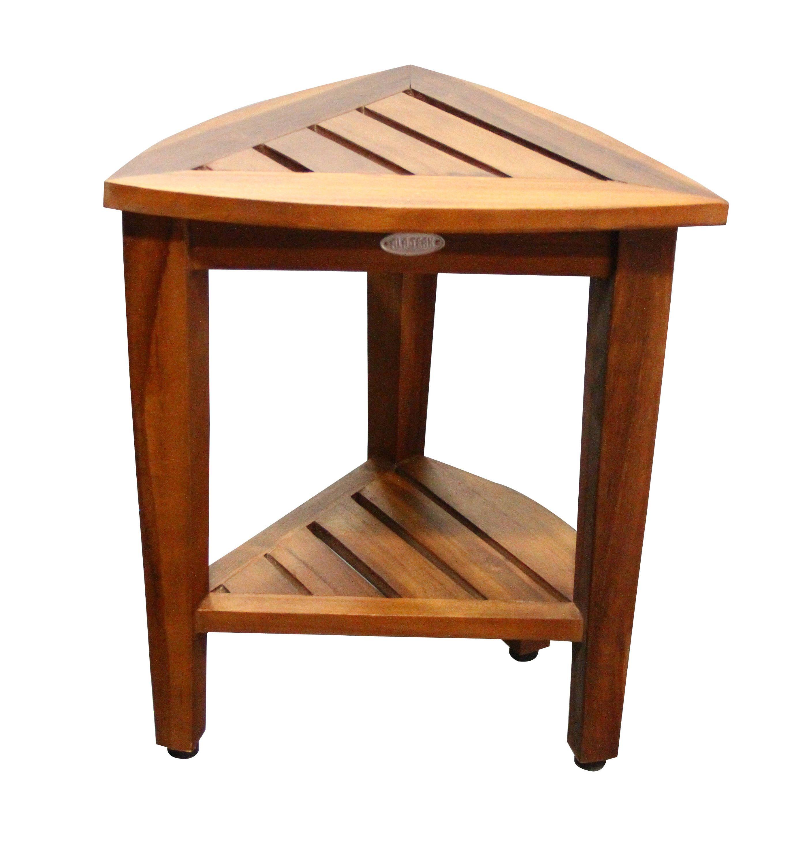 ALA TEAK Corner Teak Wood Bath Spa Shower Stool Corner Table Bench ...