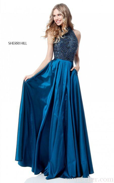 Sherri Hill 51690 Peacock A Line Long Prom Dress