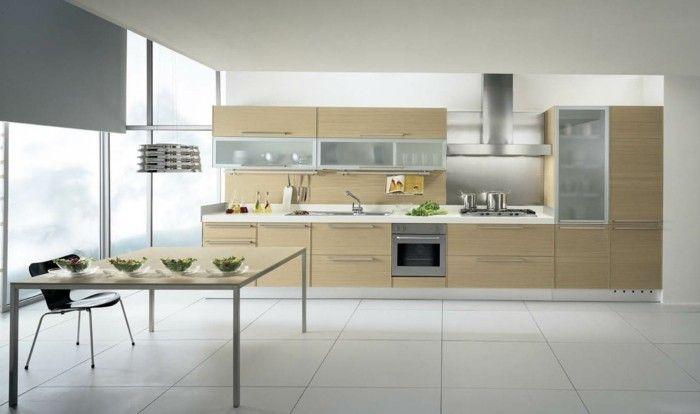 holzküchenfronten moderne kücheneinrichtung weisse bodenfliesen - küchen modern design