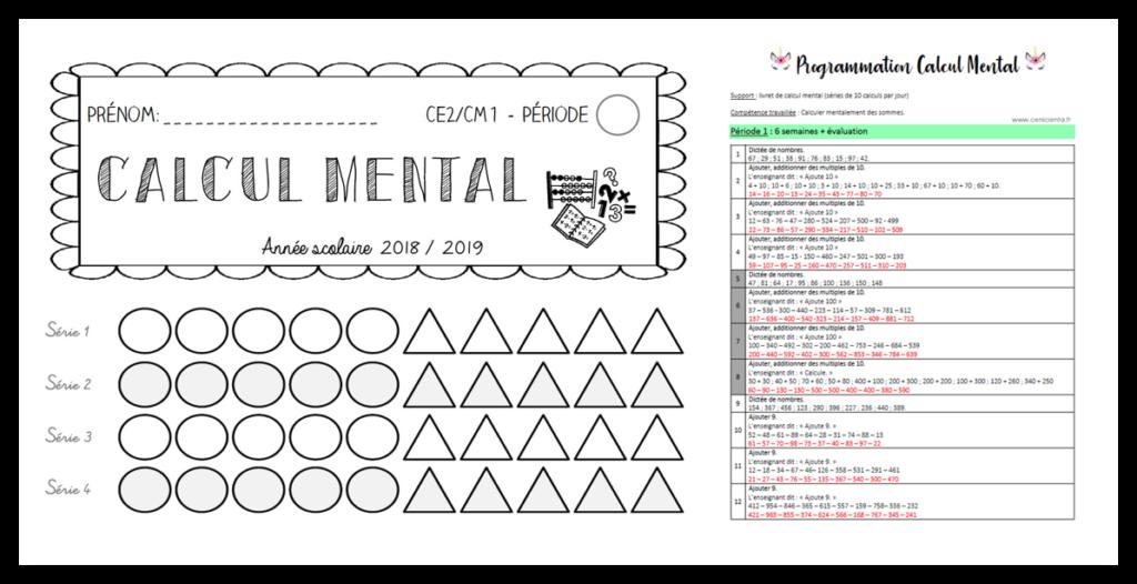 Ce2 Cm1 Mathematiques Fichier De Calcul Mental Calcul Mental Ce2 Cm1 Calcul Mental Cm1