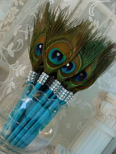 25 Peacock Feather Pen Favors with Bling in your choice of colors (skip the bling!)