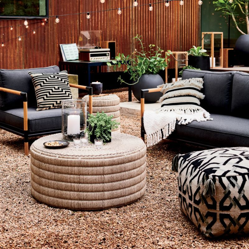 Madura Woven Outdoor Coffee Table In 2020 Metal Sofa Outdoor Coffee Tables Outdoor Pouf