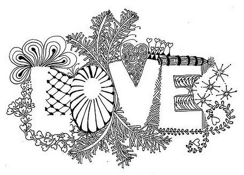 Resultado de imagem para desenhos para colorir de - Mandala amour ...
