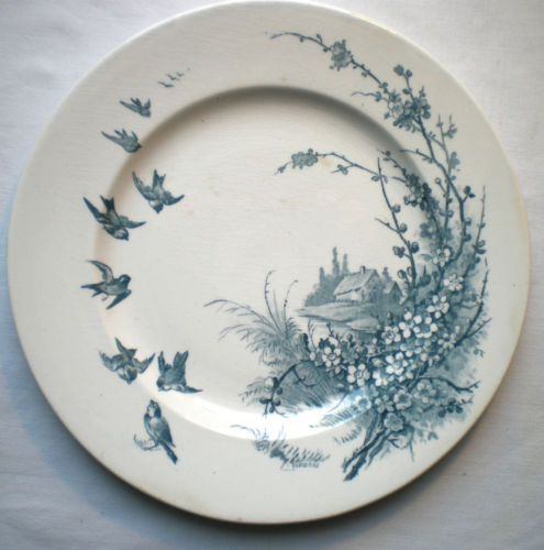 assiette dessert terre de fer porcelaine opaque gien envol e d 39 oiseaux vintage plates. Black Bedroom Furniture Sets. Home Design Ideas