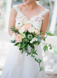 Passion Fruit Vine Bridal Bouquet With Garden Roses And Ranunculus Wedding Sydney Wedding Wine Country Wedding