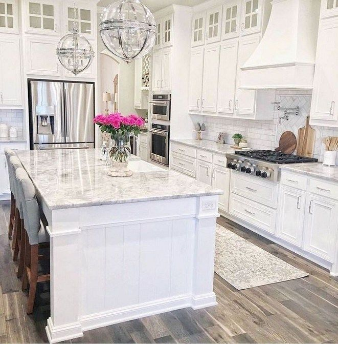 40 Gorgeous White Kitchen Design Ideas For White Cabinets In 2020 White Kitchen Design Kitchen Design Small Modern Kitchen Design