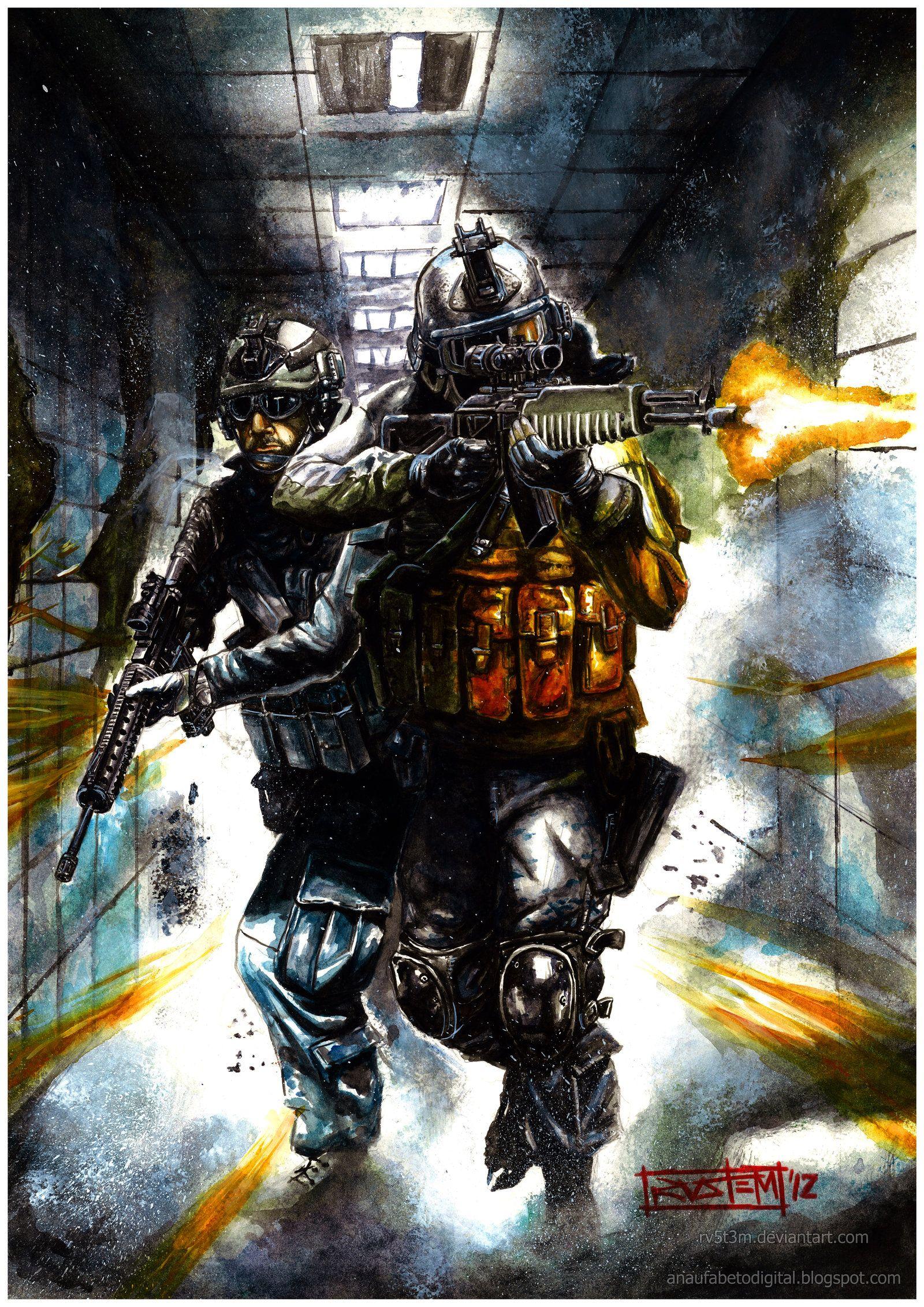 Battlefield 3 Watercolor Battlefield 3 Battlefield War Art