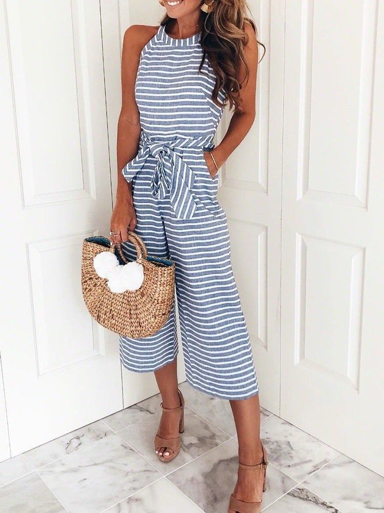 Striped Waist Belted Wide Leg Jumpsuit