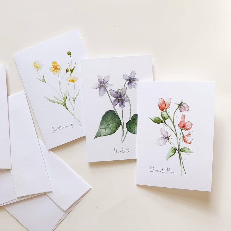 Floral Notecard set Floral stationary Botanical Stationary Botanical cards Spring cards Hello Spring Notecards Stationary gift set