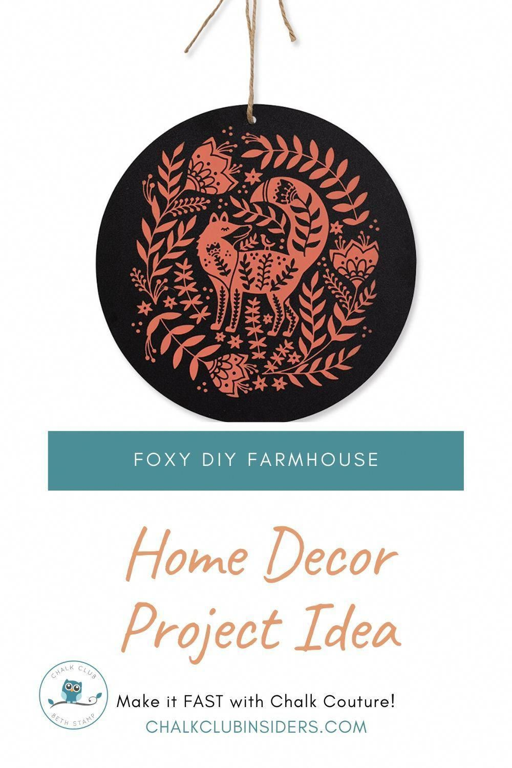 Fun and foxy DIY farmhouse home decor project. Make this homemade project idea using Chalk Couture transfers. Decorating your house with this simple and easy to make home decor is fun with the Chalk Club! #chalkcouture #homedecor #craftproject #diycrafts #farmhousedecor #diydecor #diydecorating #walldecor #homedecordiy