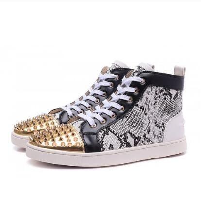 bdc6c65b360 Christian Louboutin Gold Studded Top High Top Sneakers Snake.  louboutin   louboutinsneakers  hightopsneakers