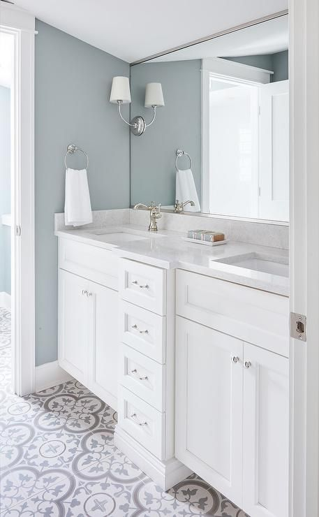 Blue Gray Bath Walls with White Dual Washstand - Transitional - Bathroom