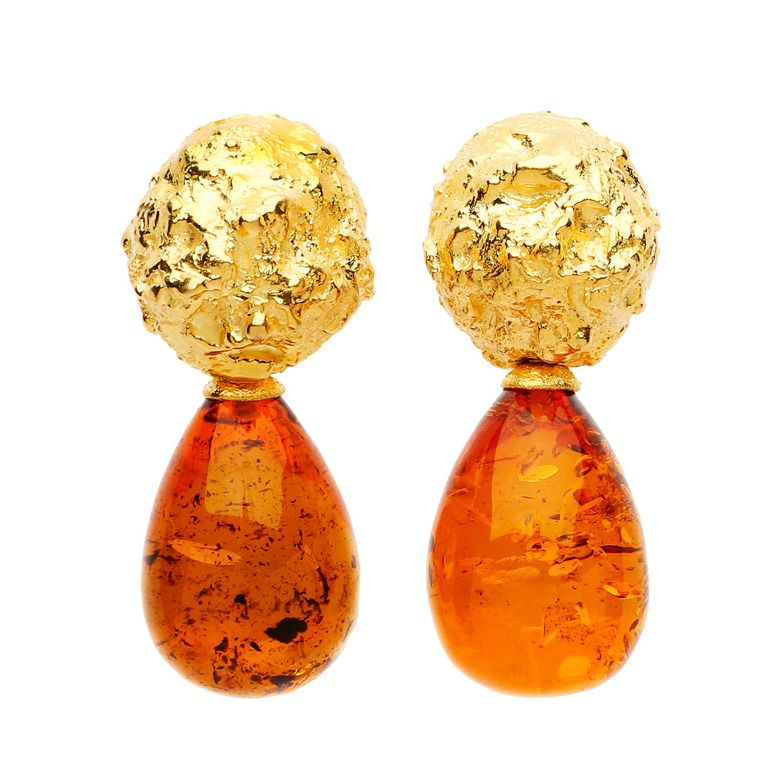 David Webb gold and amber earrings | From a unique collection of vintage drop earrings at http://www.1stdibs.com/earrings/drop-earrings/