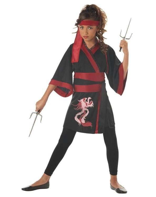 Pin by taylor riddley on ninjago stuff pinterest halloween 2017 the phoenix ninja tween costume for girls features black and red robe obi with tie leggings and head tie solutioingenieria Images