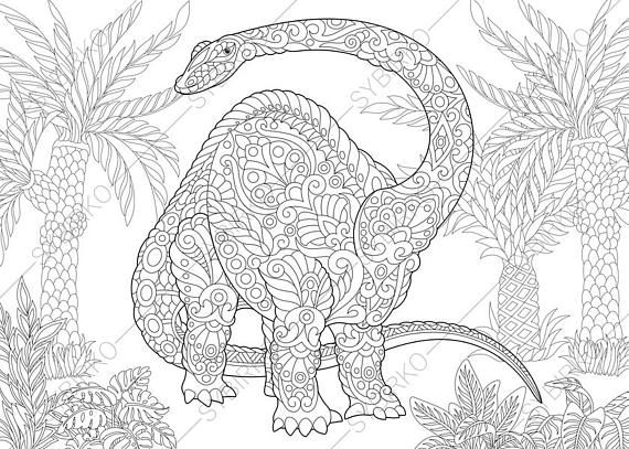 Coloring Pages For Adults Brontosaurus Diplodocus Dinosaur Adult