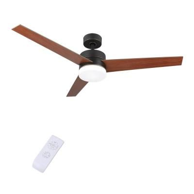 Merra 52 In Led Indoor Old Bronze Ceiling Fan With Light Kit And