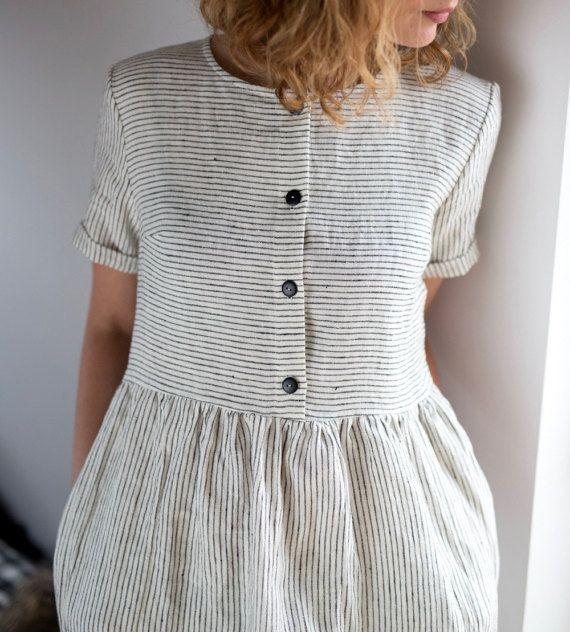 Linen Dress – Striped Linen Dress – Organic Linen Dress – Linen Short Sleeve Dress – Linen Women Dress – Handmade by OFFON