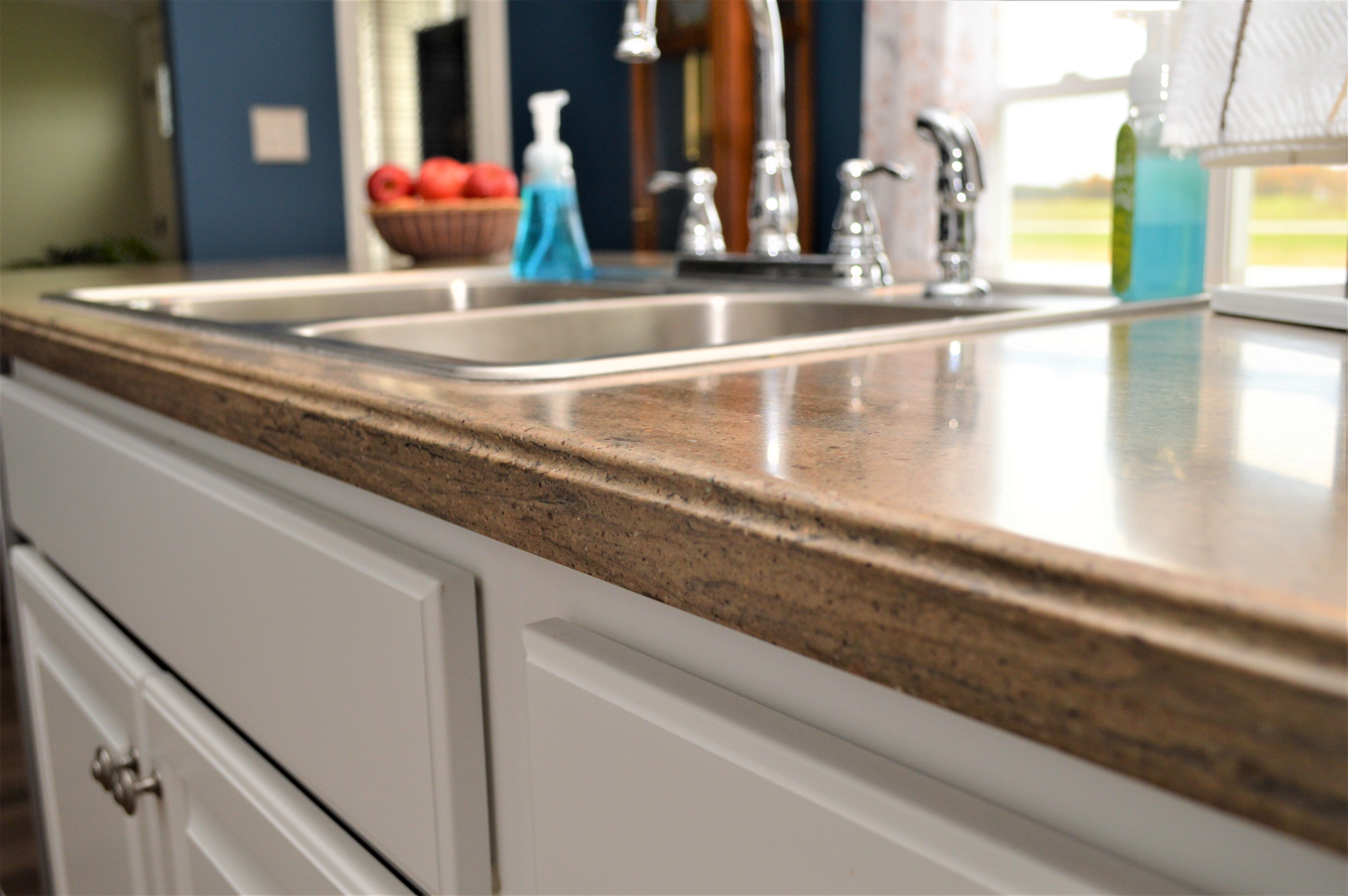 Corian Solid Surface Countertop Small Ogee Edge Detail Riverbed Color Cherry Cabinets Kitchen Kitchen Remodel Kitchen Design