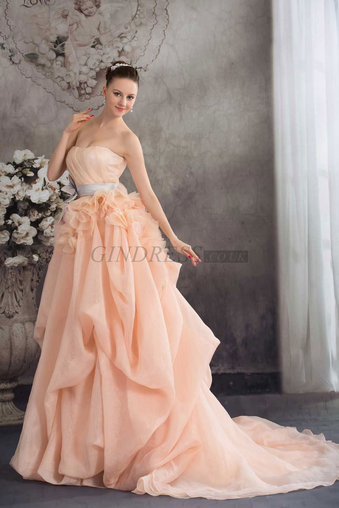 Wedding dress pin up train  Sweetheart Sleeveless Orange Chapel Train Laceup Organza Wedding