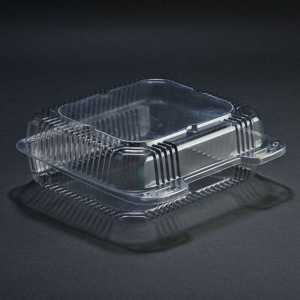 Durable Packaging Pxt 880 8 X 8 X 3 Clear Hinged Lid Plastic Container 125 Pack Hinged Lid Plastic Containers Clamshell