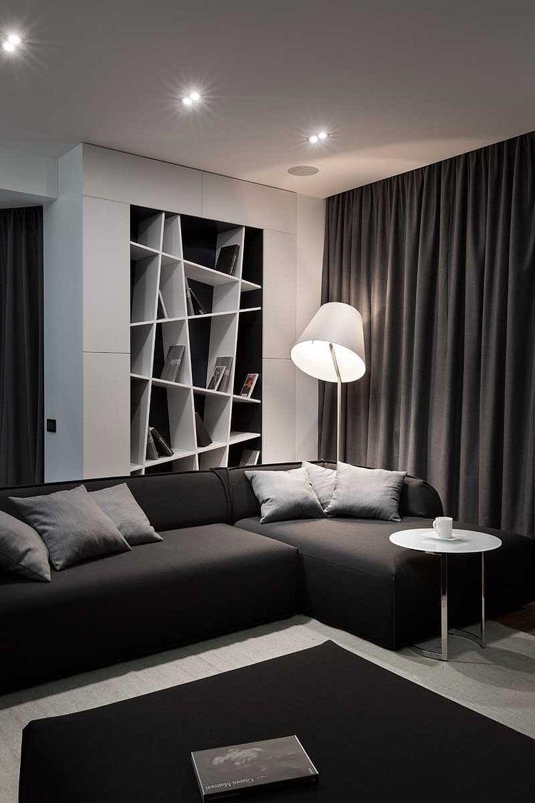 Graphite Penthouse by Denis Rakaev  Cacher, Intérieur et Séjour