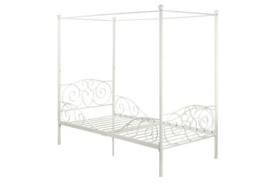 Twin Size DHP Canopy Bed with Sturdy Bed Frame Pink Metal