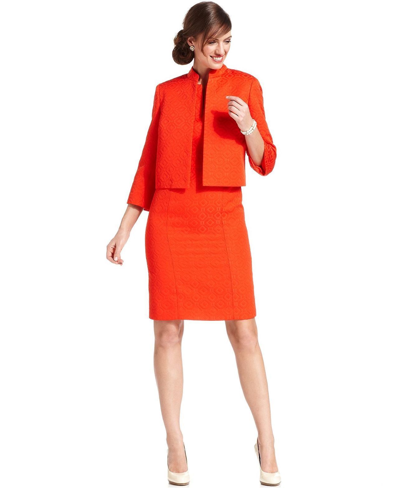 Kasper Petite Scalloped Cropped Jacket & Sheath Dress - Womens ...