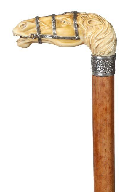 42. Ivory Horse Cane- Ca. 1900- A Fine Carved Handle Wi : Lot 42
