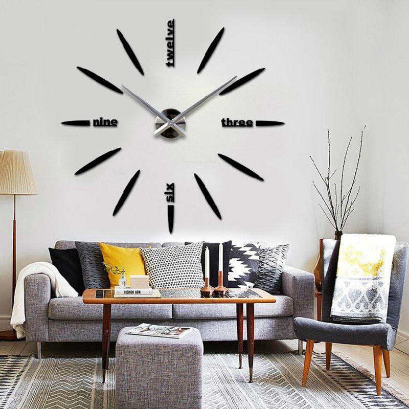 Free Shipping Fashion 3d Big Size Wall Clock Mirror Sticker Diy Wall Clocks Home Decoration La Wall Decor Living Room Contemporary Home Decor Office Room Decor