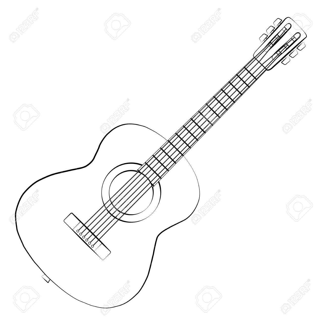 Black Outline Vector Guitar On White Background Royalty Free Guitar Outline Outline Art Guitar