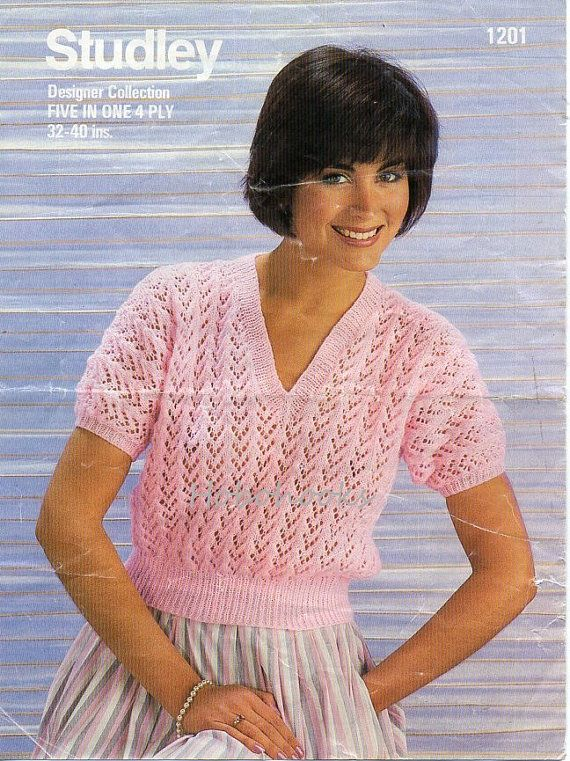 77e6ae385195 Knit Patterns · L8068 Ladies lacy v neck sweater   jumper - 32 to 40 inch  bust - 4