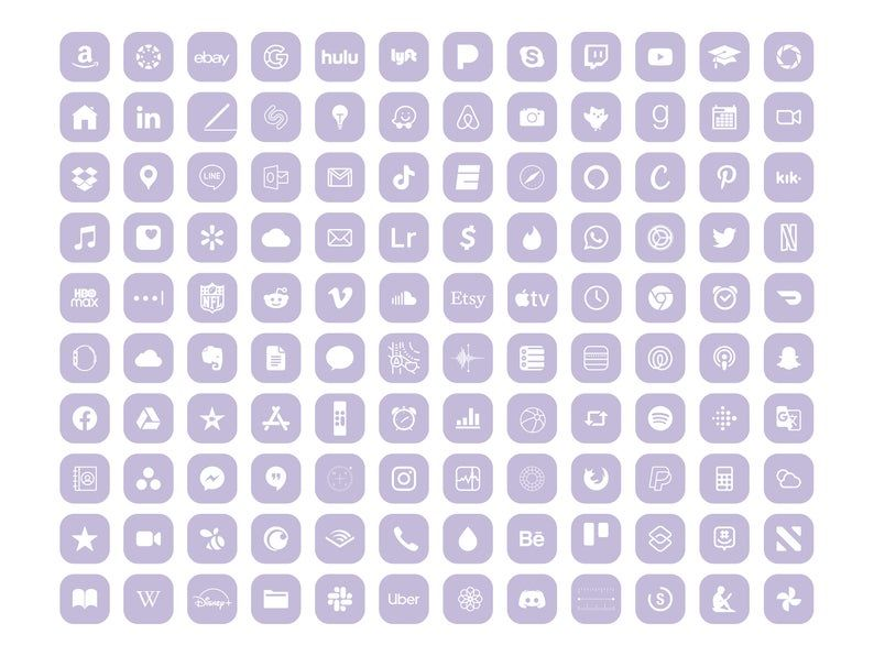 iPhone iOS 14 App icon Pack, 240 Soft Purple icons