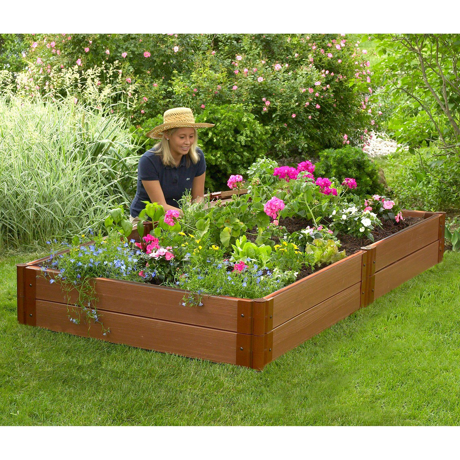 Frame It All 1 Inch Series Composite Raised Garden Bed Kit 4ft