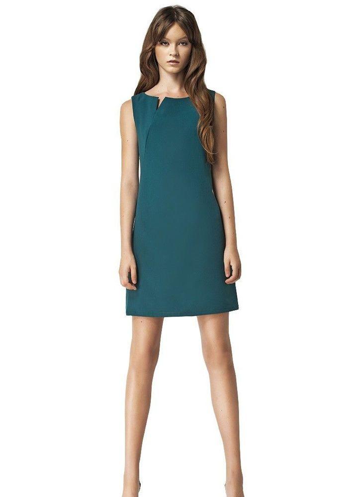 2f60bffa78c Robe femme habillée verte sans manches - S37 Nife - 36 38 40 42 44   Robesdroites