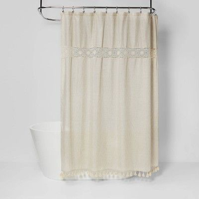 Solid Crochet With Tassels Shower Curtain Tan Opalhouse In 2020