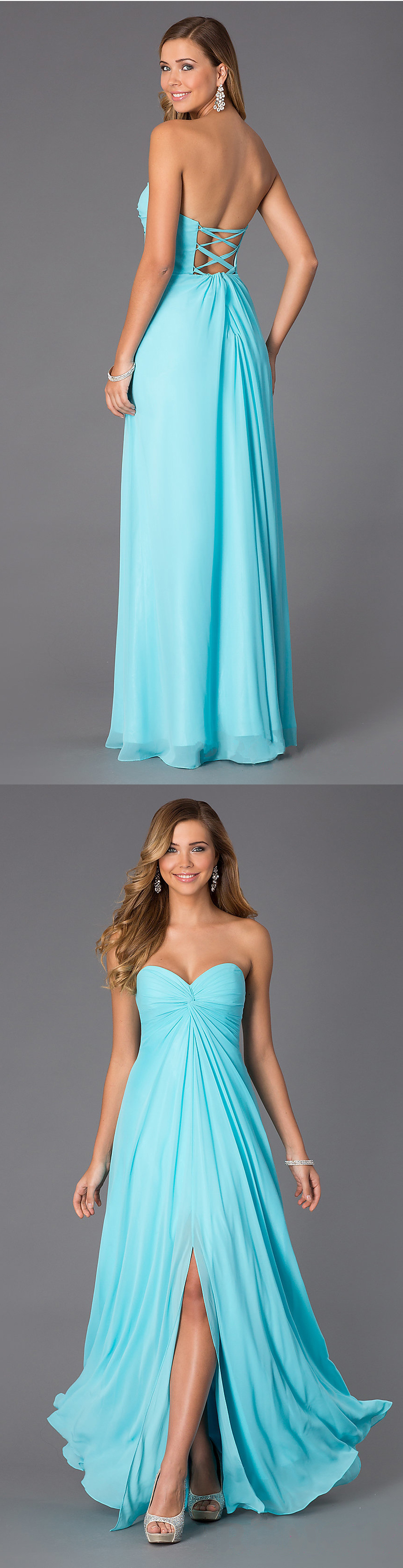 Strapless Sweetheart Long Lace Tiffany Blue Prom Dress by Faviana ...