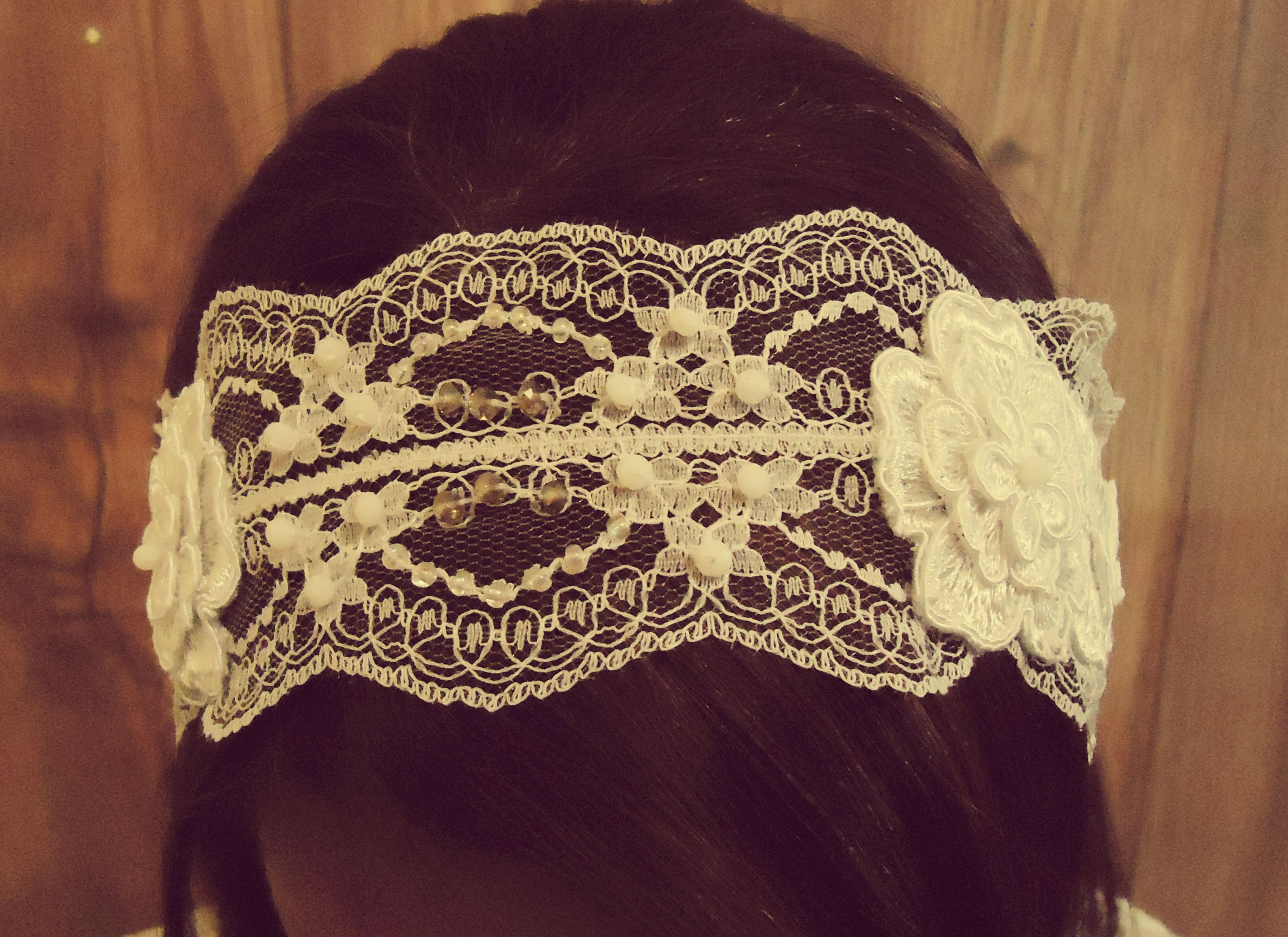 Lace is timeless! This hand-made headband is made with white french lace, inlaid with white and amber crystals and transparent rainbow mini pearls. Tied to your hair with delicate white satin ribbon. Perfect for a vintage beach-wedding or a country wedding.  https://www.etsy.com/listing/193917443/bridal-hair-headpiece-lace-and-flower?ref=related-0
