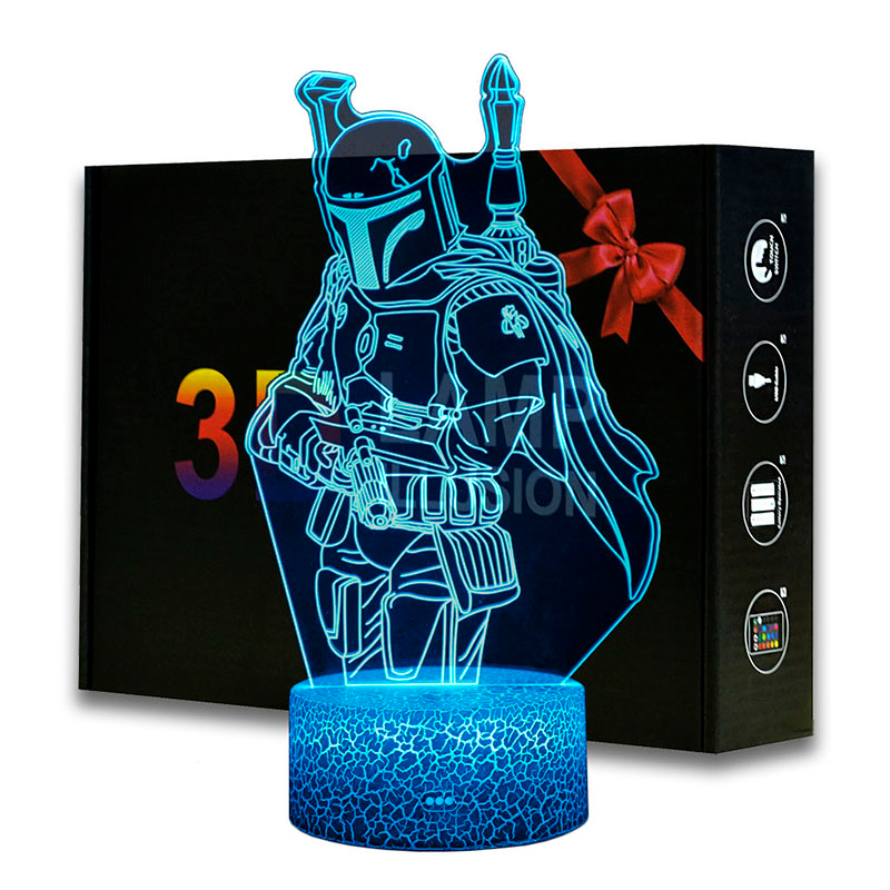 3d Illusion Led Night Lights Star Wars The Mandalorian Desk Lamp Boba Fett Model Lampen For Kids Birthday Xm In 2020 Star Wars Night Light 3d Illusions Led Night Light