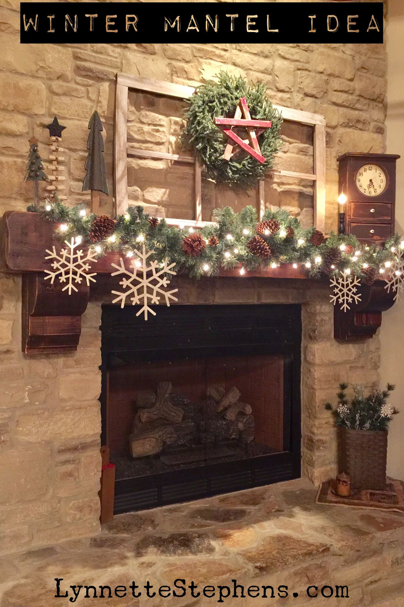 To make our mantel ready for the winter months I simply