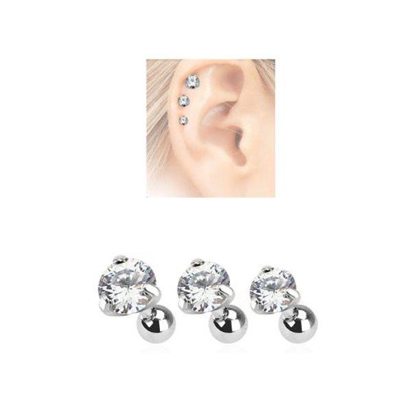 3pcs 16G Zircon Gem Crystal Ball Tragus Lip Ring Ear  Stud Earring