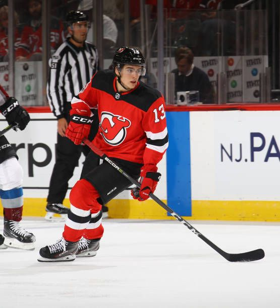 9618ecc6b Nico Hischier of the New Jersey Devils skates in his first NHL game against  the Colorado Avalanche at the Prudential Center on October 7 2017 in.
