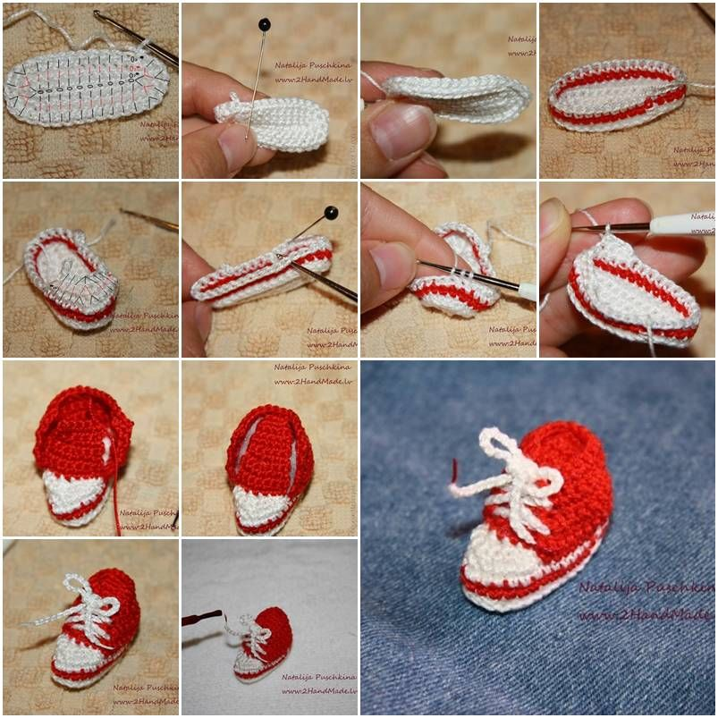 How to make Mini Crochet Sneaker step by step DIY instructions, How to, how to make, step by step, picture tutorials, diy instructions, craft, do it yourself